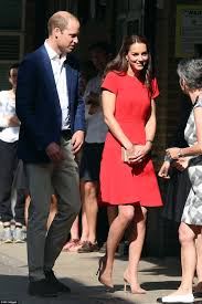 kate middleton stuns in scarlet as she joins prince william at