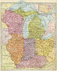 Us Map Michigan by Central United States Map 1896 Stock Photo 493069375 Istock