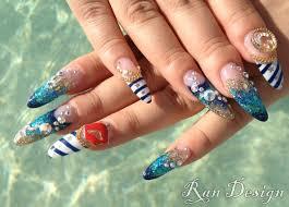 nautical aquatic mermaid nail art not a fan of stiletto nails but