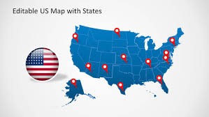 Blank Map Of The United States Of America by Us Map Template For Powerpoint With Editable States Slidemodel