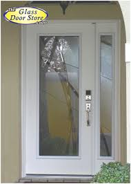 modern front door with glass insert and sidelight very private