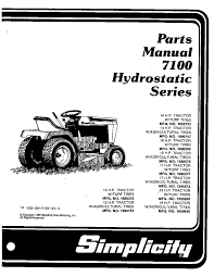 simplicity lawn mowers 7100 hydrostatic series pdf parts manual