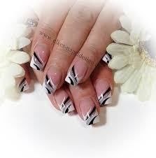 elegant french nail art in silver black and white nails