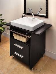 Breathtaking Very Small Bath Vanities With Rectangular Porcelain - Black bathroom vanity with vessel sink