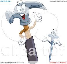 clipart of a happy cartoon hammer and nail royalty free vector