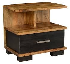 renovation rustic ebony black and natural wood nightstand