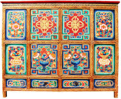 Hand Painted Furniture by Tibetan Buddhist Furniture Dorje Offering Altar