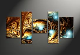 5 piece canvas abstract brown oil paintings multi panel art