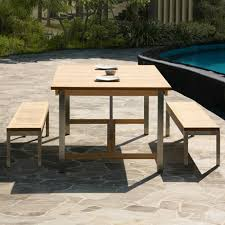 Expandable Table Siro Teak And Stainless Steel Outdoor Expandable Table With