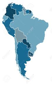 Political Map Of Latin America by Political Map Of South America In Cold Blue Colors Royalty Free