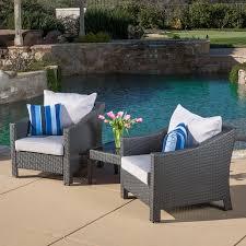 Polyethylene Patio Furniture by Amazon Com Caspian 3 Piece Grey Outdoor Wicker Furniture Chat