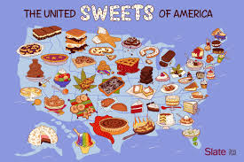 Oregon State Fair Map by United Sweets Of America Map A Dessert For Every State In The