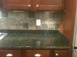 Slate Kitchen Backsplash Cherry Cabinets Tan Brown Granite Counter Copper Rust Slate
