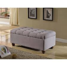 amazon com tufted linen and upholstered grey storage ottoman