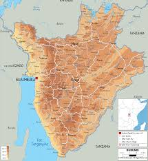 Physical Map Of Africa by Hope Tours Safaris Africa The Physical Map Of Burundi East Africa