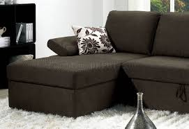 brown fabric modern sectional sofa w pull out bed