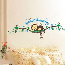 popular monkey wall decals buy cheap monkey wall decals lots from sleepping monkey cartoon wall stickers sweet dreams wall decals for nursery baby room decor china