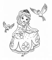 sofia the first with birds coloring page for girls disney for