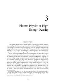 Plasma Physics at High Energy Density   Plasma Science     Page