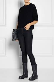 womens black leather biker boots bottega veneta leather biker boots in black lyst