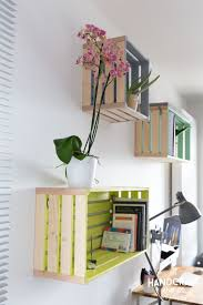 Wooden Crate Bookshelf Diy by Crate Shelf With Fabric Back And Painted Sides Diy Organization