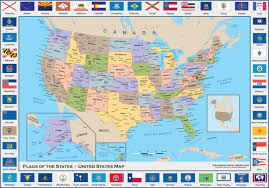 Arizona Us Map by Flags Of The States United States Political Wall Map