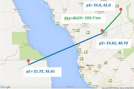 Lat Long Map Matlab Distance From Lat Lng Point To Minor Arc Segment Stack