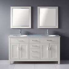 63 inch double sink bathroom vanity with marble top in white