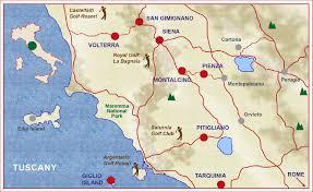 Tuscany Map Tuscany Golf Tour