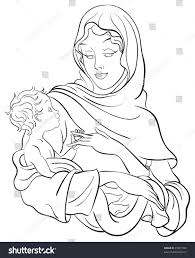 madonna baby jesus coloring page available stock vector 73961398