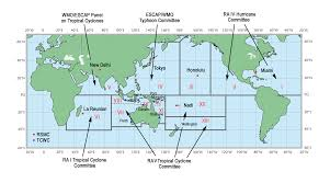 Diagram Of The World Map by Worldwide Tropical Cyclone Centers