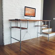furniture brown varnished wooden computer desk with chrome iron