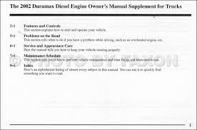 2002 chevy and gmc 6 6l duramax diesel owners manual supplement