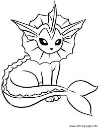 vaporeon eevee pokemon evolutions coloring pages printable