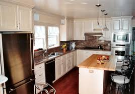 craftsman style kitchen prairie cabinets brown metal mini pendant