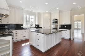 Marble Island Kitchen Kitchen In Luxury Home With Marble Island Stock Photo Picture And
