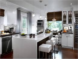 airy modern and sleek kitchen design with bright white flooring