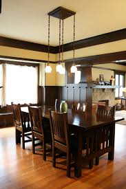 dining room with wainscoting and ceiling beams u2013 1908 craftsman