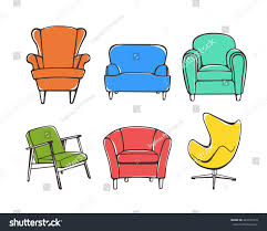 Colorful Accent Chairs by Vector Graphic Set Hand Drawn Accent Stock Vector 443745319