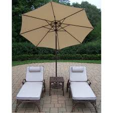 Patio Umbrella Side Table by Oakland Living Elite Cast Aluminum 2 Cushioned Chaise Lounges With