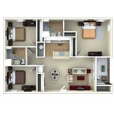 3bedroom 3d floor plan glenbrook apartments in sarasota fl