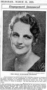 Helen Faulkner 1929 Engagement Announcement - GraftonHelenFaulknerWed2