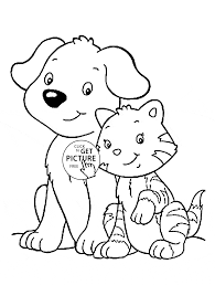 cat and dog coloring page for kids animal coloring pages