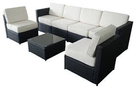 Wicker Outdoor Furniture Sets by 7 Piece Wicker Patio Sectional Furniture Set Black Modern