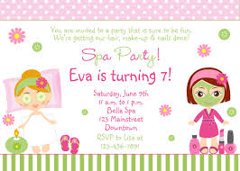 Birthday Invitation Cards For Kids Free Spa Party Invitations Printables Girls U2013 Invitetown B Day