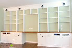 Built In Kitchen Cabinets Remodelaholic Build A Wall To Wall Built In Desk And Bookcase