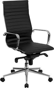 Upholstered Swivel Desk Chair by High Back Black Ribbed Upholstered Leather Executive Swivel Office