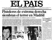 Portada de El País de los asesinatos de los Abogados de Atocha