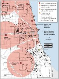 North Shore Chicago Map by Map Trauma Centers And Shootings In The Chicago Area Chicago