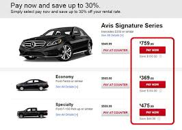 Avis Car Rental Special Pay Now Rates   Avis Avis If you select PAY NOW or prepay online for your car rental  the credit card used for payment must be presented at the counter